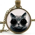 Steampunk Cat Pendant Necklace - Cool Funny Animal Art Picture Jewellery Charm