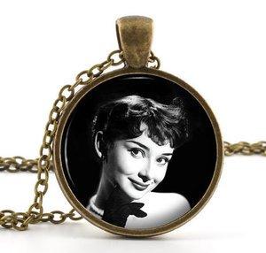 Vintage Audrey Hepburn Pendant Necklace - British Actress American Film Star