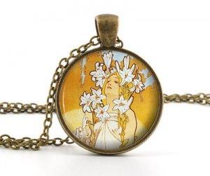 Mucha Lily Pendant Necklace - Vintage Antique Art Nouveau Picture Womens Jewelry