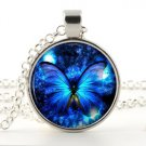 Glowing Blue Color Butterfly Necklace - Silver Insect Bug Night Star Jewelry Art