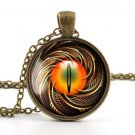 Steampunk Pendant Necklace - Vintage Bronze Color Dragon Cat Eye Charm Jewellery