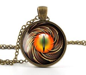 Steampunk Pendant Necklace - Vintage Bronze Color Dragon Cat Eye Charm Jewellery