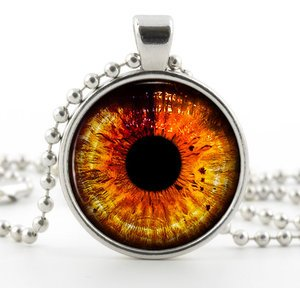 Silver Halloween Necklace Pendant - Orange Colour Fantasy Dragon Eye Art Jewelry