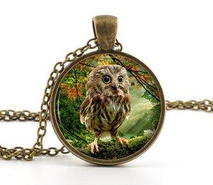 Owl Necklace Pendant - Cute Baby Bird Art - Vintage Woodland Picture Jewellery