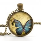 Blue Butterfly Necklace Pendant - Vintage Jewelry - Insect Bug Art Pink Flowers
