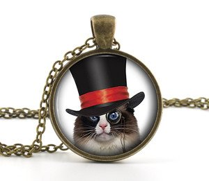 Black and White Steampunk Cat Necklace Pendant - Kitten Picture Humour Jewelry