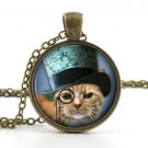 Kitten Steampunk Pendant Necklace - Little Kitty Top Hat Cat Picture Jewelry