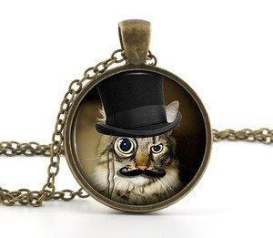 Steampunk Pendant Cat Photo Necklace - Cute Kitten Top Hat Kitty Jewellery