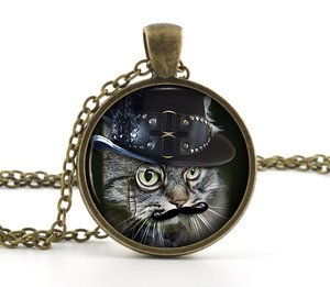 Steampunk Cat Necklace Photo Pendant - Funny Humour Moustache Kitten Jewellery