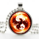Phoenix Necklace - Glass Pendant - Fantasy Bird Symbol Art Picture Jewelry Gift