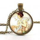 September Pendant Necklace -Antique Alphonse Mucha Art Nouveau Picture Jewellery