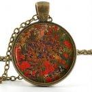 Vintage van Gogh Pendant - Necklace - Jardin Fleuri Arles Juillet Art Jewellery