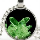 Kryptonite Pendant -Silver Necklace- Green Superhero Superman Crystal Jewellery
