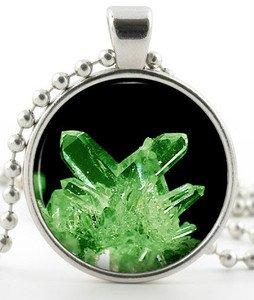 Kryptonite Pendant -Silver Necklace- Green Superhero Superman Crystal Jewellery
