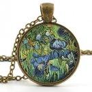 Vintage van Gogh Irises Pendant -Necklace- Irises Painting Art Picture Jewellery