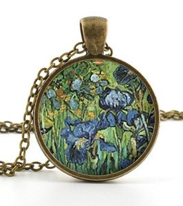 Vintage van Gogh Irises Pendant -Necklace- Irises Painting Art Picture Jewellery