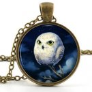 White Owl Pendant - Necklace - Vintage Baby Owlet Bird Night Art Owl Jewellery