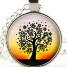 Tree necklace - Silver picture pendant - Colourful Fantasy Woodland Jewellery