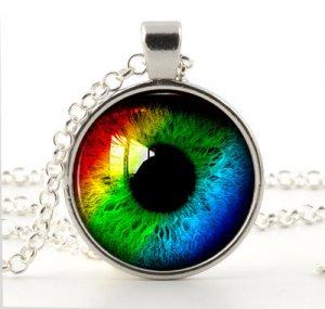 Rainbow Eye Pendant -Silver Necklace- Prismatic Colour Eye Art Picture Jewellery