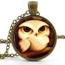Owlet Pendant - Owl Pendant Necklace -  Baby Bird Owl Art Picture Jewellery
