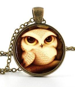 Owlet Pendant - Owl Pendant Necklace -  Baby Bird Owl Art Picture Jewellery