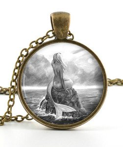 Black and White Mermaid Pendant - Necklace - Mythological Picture Jewellery