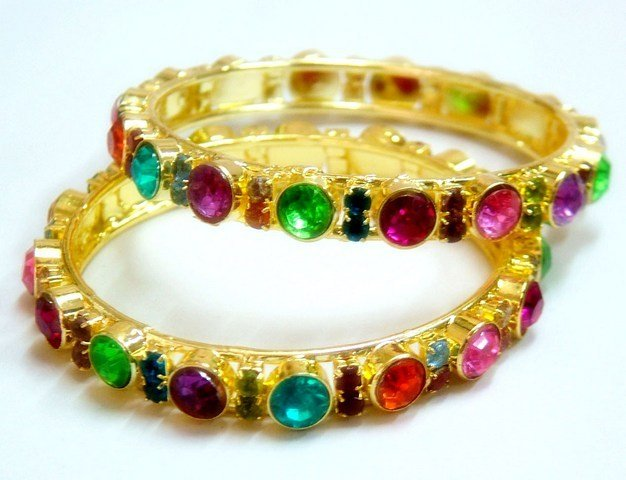 Glamorous Designer Multicolor Rainbow Crystal Rhinestone Bangle Bracelet Pair