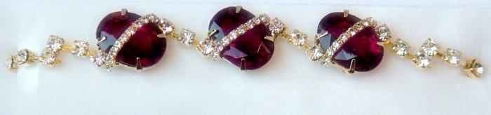 Stunning  Designer 24K Gold Plated Bracelet with Ruby