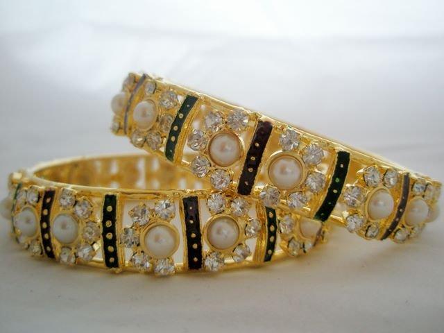 Exquisite Crystal Rhinestone Pearl Enamel Bangle Bracelet Pair