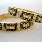 Prom Crystal Rhinestone Enamel Bangle Bracelet Pair