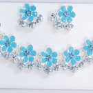 Wholesale Lot of 5 Silver Clossione Enamel Rhinestone Necklace Earring Set