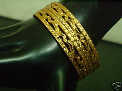 Dazzling 22k Indian Micro Gold Plated Bangle Bracelet Pair