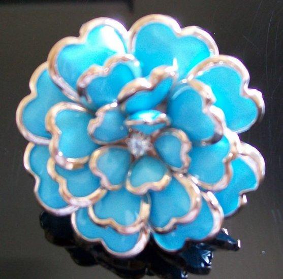 Rose Flower Enamel Rhinestone Adjustable Flower Cocktail Ring