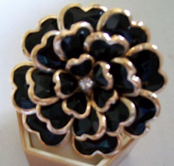 Heart Petals Enamel Rhinestone Adjustable Flower Cocktail Ring
