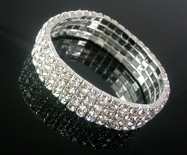 4 Row Party Crystal Rhinestone Silver Stretchable Bracelet