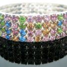 Multi Color 4 Row Party Crystal Rhinestone Gold Plated Stretchable Bracelet