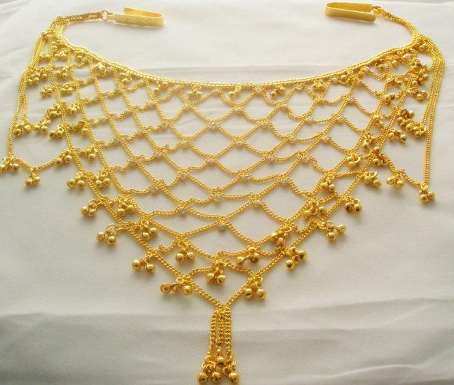 Bridal Gold Plated Metal Rhinestone Belly Hip Waist Chain Belt India