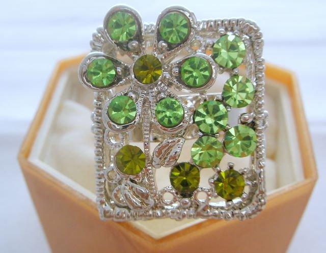 Green Flower Crystal Rhinestone Silver Adjustable Ring