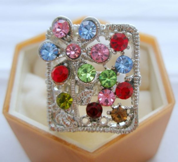 Multi Color Flower Crystal Rhinestone Silver Adjustable Ring