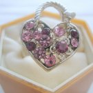 Amethyst Heart Purse Crystal Rhinestone Silver Adjustable Ring