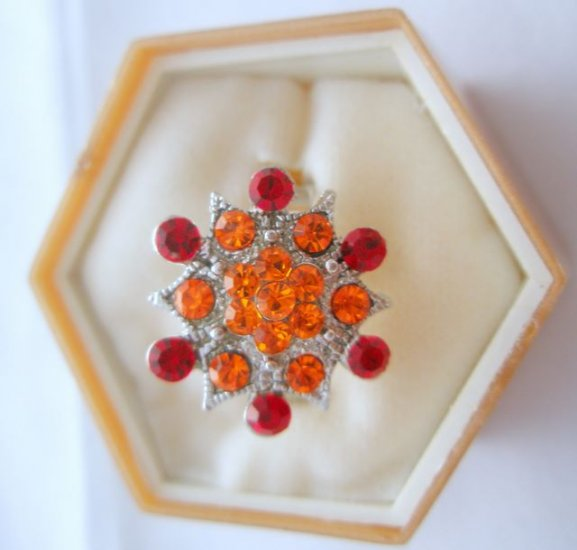 Red Orange Crystal Rhinestone Silver Adjustable Ring