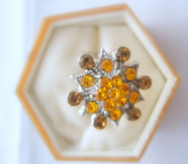 Brown Orange Crystal Rhinestone Silver Adjustable Ring