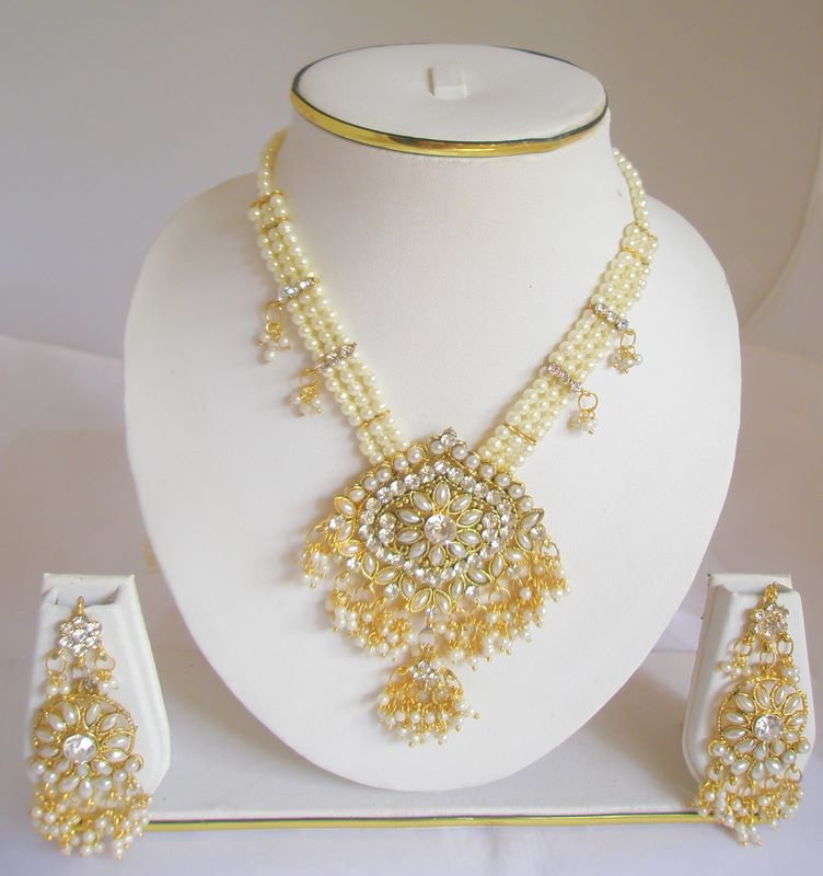 Handmade Three Strand Pearl Rhinestone Necklace Earring Set