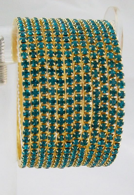 Stackable Crystal Rhinestone Bangle Bracelet 12pcs Turquoise
