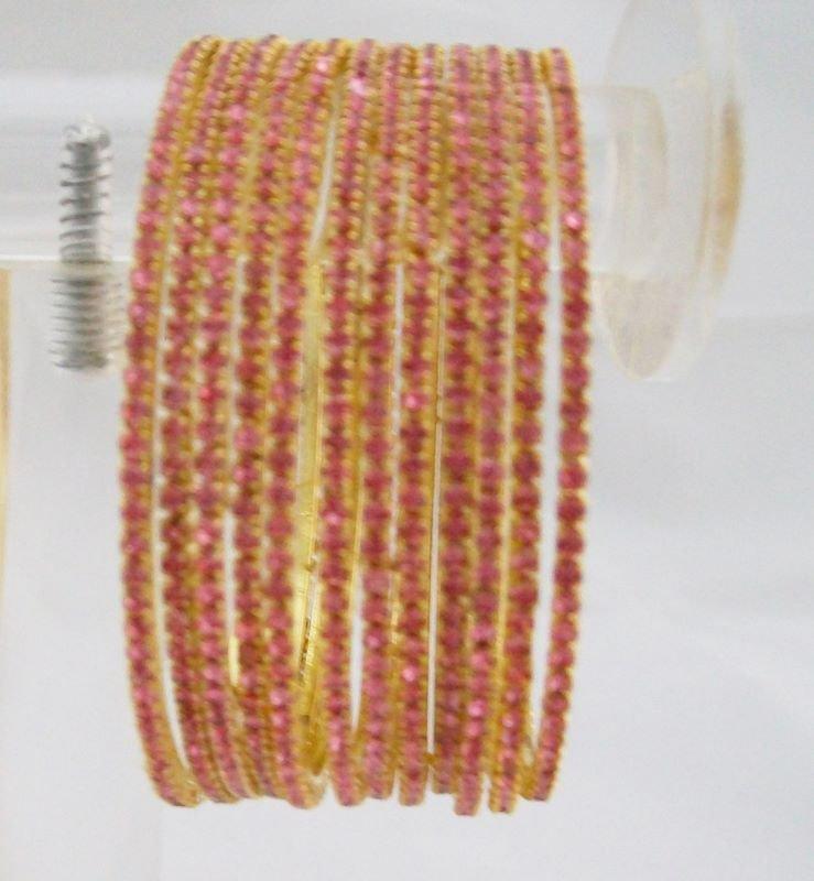 Stackable Crystal Rhinestone Bangle Bracelet 12pcs Pink