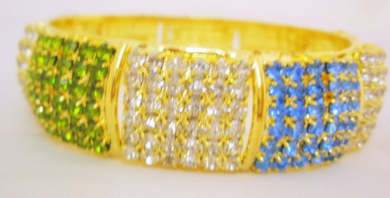 1Pc Multicolor Wide Crystal Rhinestone Bangle Bracelet