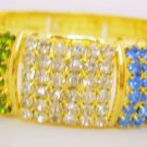 1Pc Multicolor Wide Crystal Rhinestone Bangle Bracelet