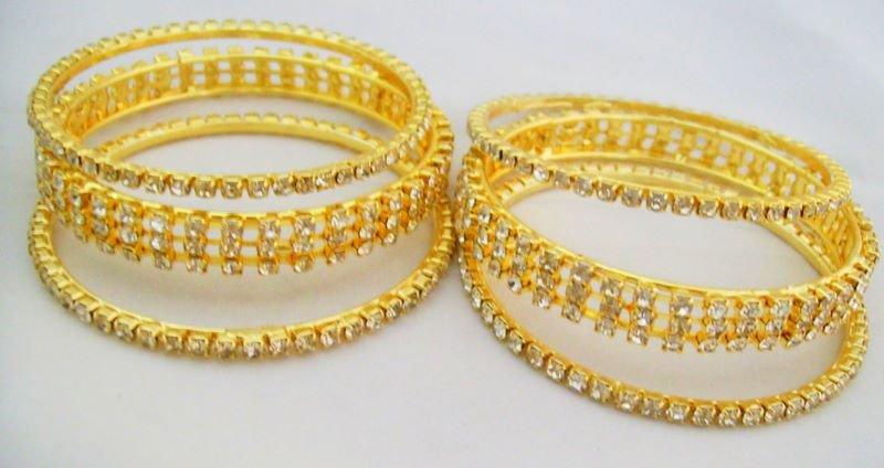 Set of Six Indian Crystal Rhinestone Bangle Bracelet