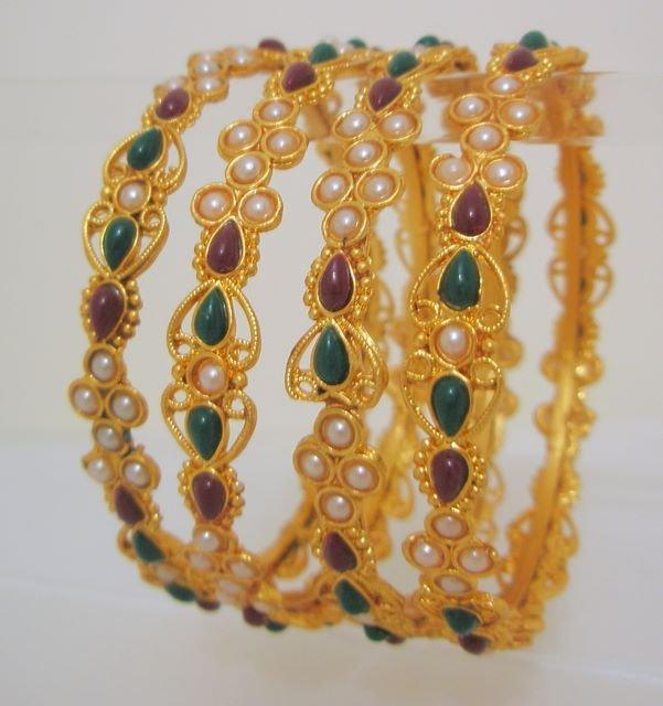 4 Pc Rajasthani Jewelry Kundan Bangle Bracelet Set