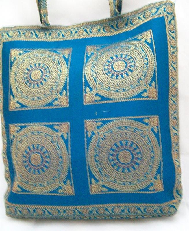 Handcrafted Indian Brocade Silk Handbag Tote Purse